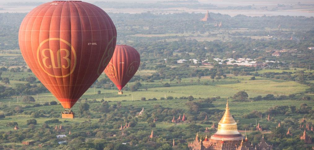 globos sobre templos Myanmar